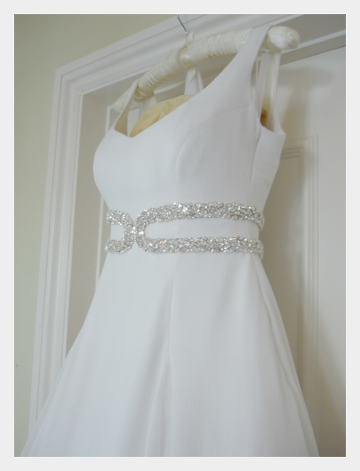 Wedding dress by Felicity Westmacott: White silk chiffon layers with diamante detail, finished, steamed and ready to go