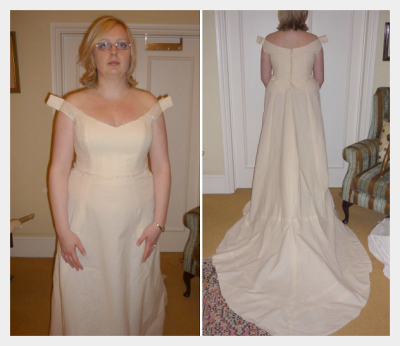 Wedding dress by Felicity Westmacott: pictures from the toile (practice) fitting