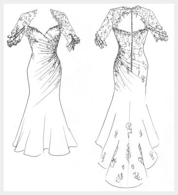 Silk wedding dress by Felicity Westmacott: caffe coloured silk and black lace applique, original design sketch