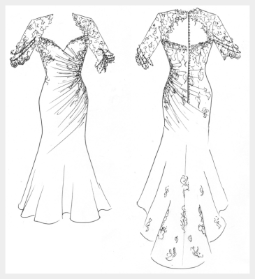 Silk wedding dress by Felicity Westmacott: caffe coloured silk and black lace applique, original design sketch