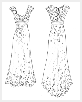 Wedding dress by Felicity Westmacott, vintage styling, satin and lace with beaded edging and silk sash, original design sketch