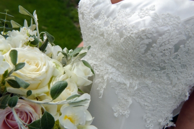Wedding Dress by Felicity Westmacott, Ivory silk satin and georgette, lace applique bodice and cowl back: bodice detail