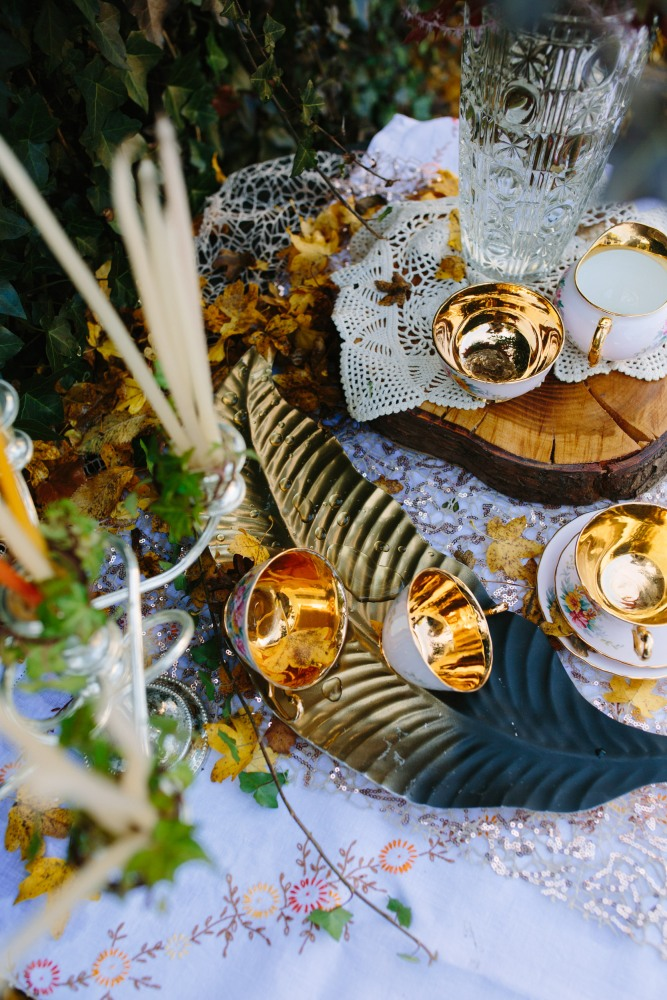 golden cups and candles: Design by Felicity Westmacott, Photography by Jessica Partridge, Frost on the Leaves Photoshoot: