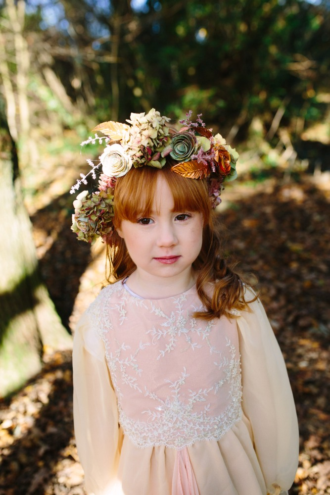 Flower wreath by Muscari Whites, Dress Design by Felicity Westmacott, Photography by Jessica Partridge, Frost on the Leaves Photoshoot
