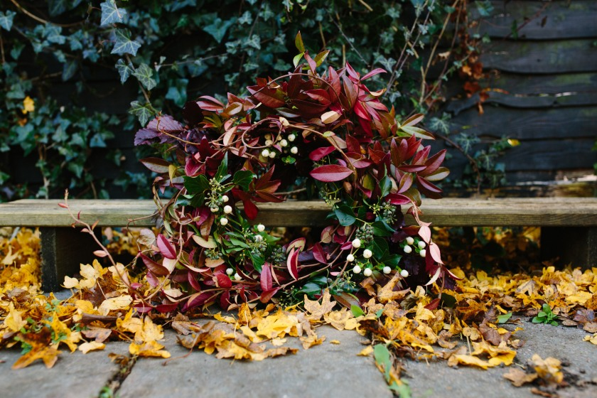 Wreath by the Girl who gardens: Design by Felicity Westmacott, Photography by Jessica Partridge, Frost on the Leaves Photoshoot