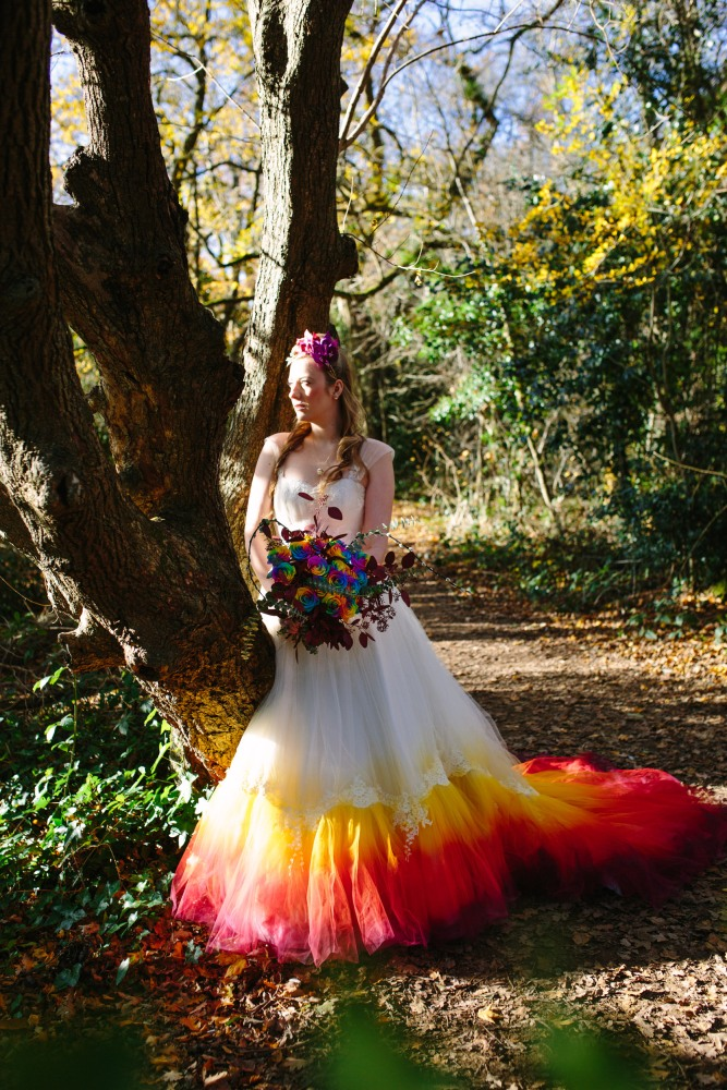 Keely Simeoni in a dip-dye wedding dress: Victory Roll Hair by Very Bettie, Make-up by Charlotte Light: Dress Design by Felicity Westmacott, Photography by Jessica Partridge, Frost on the Leaves Photoshoot