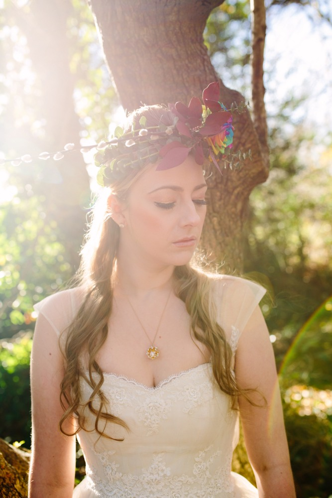 Keely Simeoni in a dip-dye wedding dress: Jewellery by Vicky Forrester, Flower wreath by Muscari Whites, Dress Design by Felicity Westmacott, Photography by Jessica Partridge, Frost on the Leaves Photoshoot