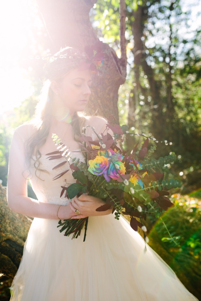 Keely Simeoni in a dip-dye wedding dress: Jewellery by Vicky Forrester, Flower wreath and bouquet by Muscari Whites, Dress Design by Felicity Westmacott, Photography by Jessica Partridge, Frost on the Leaves Photoshoot