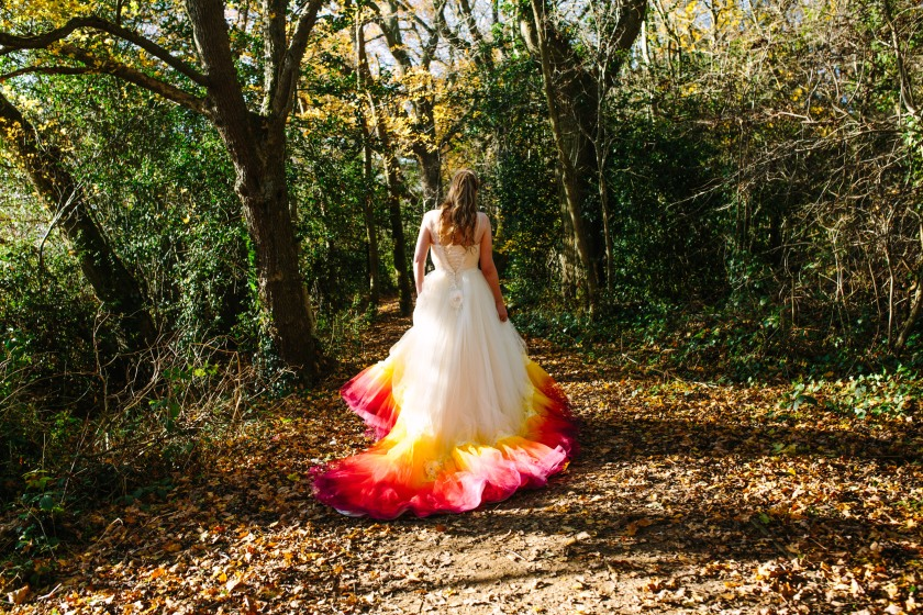 Keely Simeoni in a dip-dye wedding dress: Lilly hair band by Jen Levet Dress Design by Felicity Westmacott, Photography by Jessica Partridge, Frost on the Leaves Photoshoot