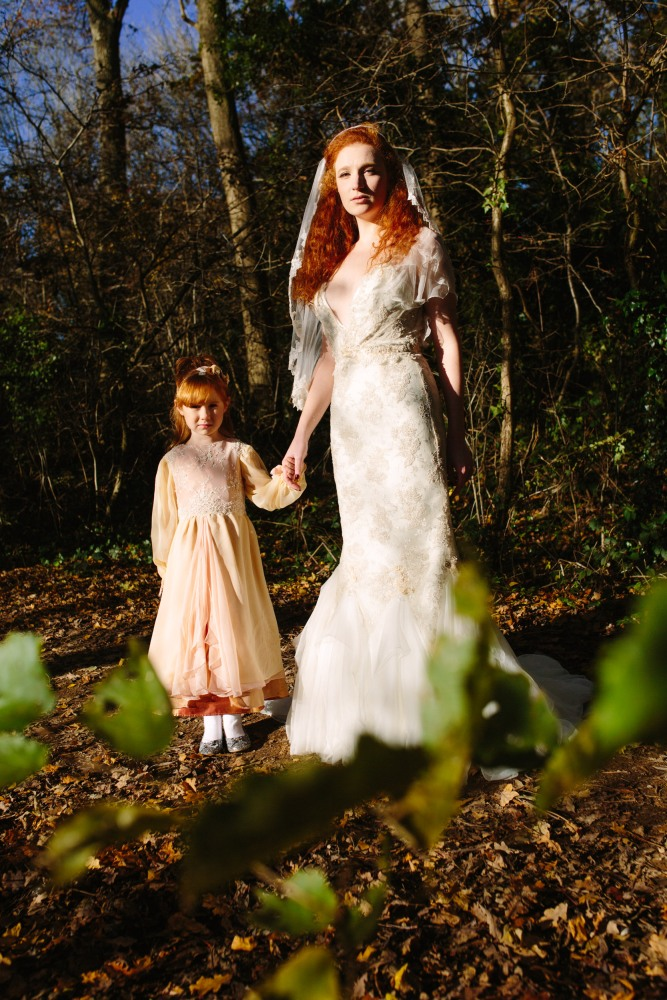 Flowergirl in lame and georgette and bride Katja Cemic in antique silver lace dress by felicity Westmacott, Photography by Jessica Partridge, Frost on the Leaves Photoshoot