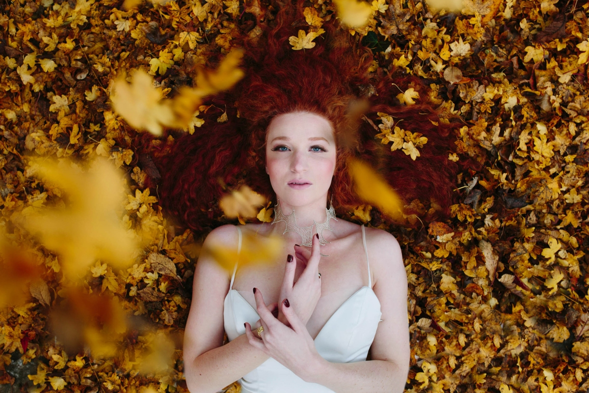 Katja Cemic in the golden leaves: Dress Design by Felicity Westmacott, Photography by Jessica Partridge, Frost on the Leaves Photoshoot,