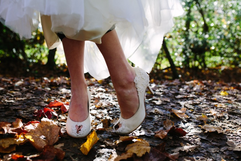Bespoke Shoes by Marsha Hall, dress by felicity Westmacott, Photography by Jessica Partridge, Frost on the Leaves Photoshoot