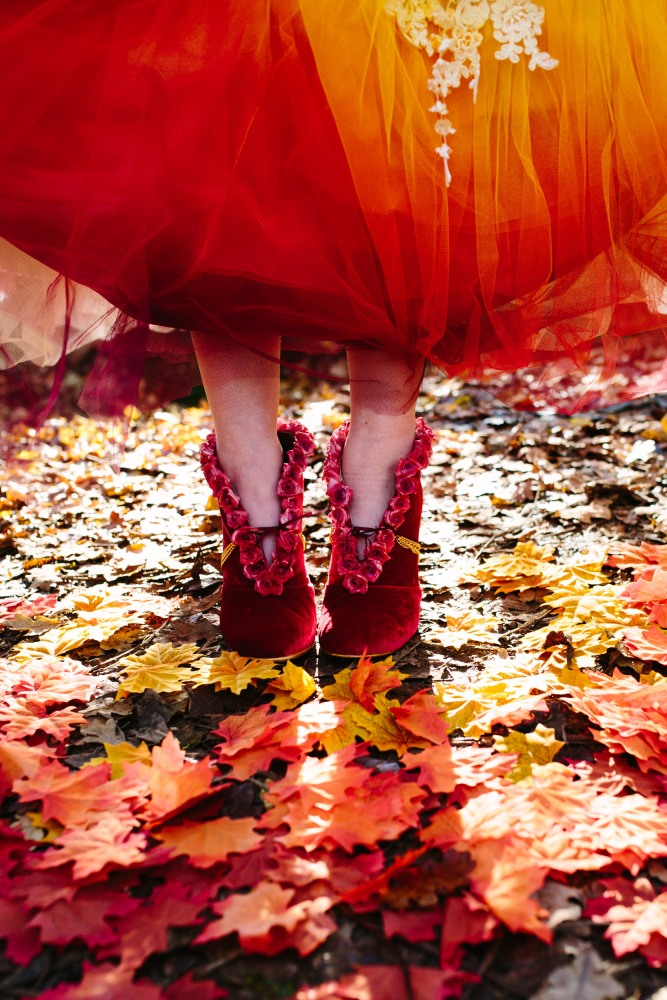 Bespoke boots by Marsha Hall, dress by felicity Westmacott, Photography by Jessica Partridge, Frost on the Leaves Photoshoot