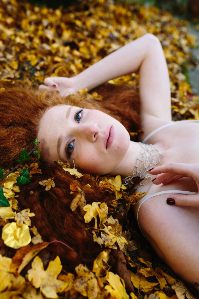 Katja Cemic in the golden leaves: Design by Felicity Westmacott, Photography by Jessica Partridge, Jewellery by Vicky Forrester, Frost on the Leaves Photoshoot,