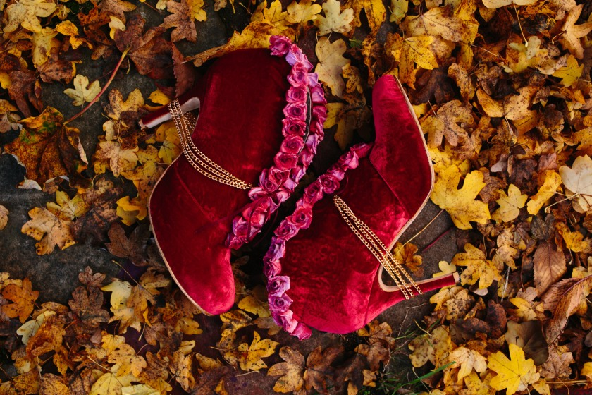 Bespoke velvet wedding boots by Marsha Hall: Design by Felicity Westmacott, Photography by Jessica Partridge, Frost on the Leaves Photoshoot