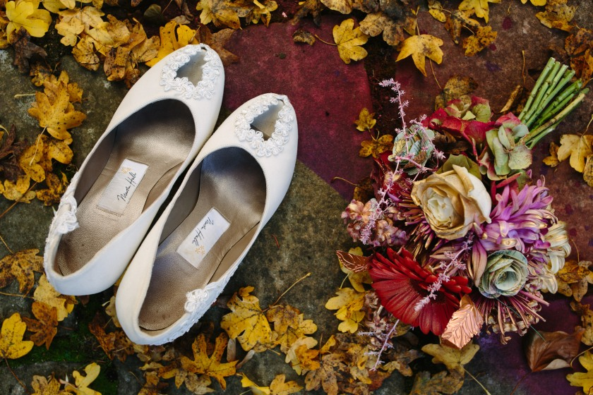 Bouquet by Muscari Whites and bespoke shoes by Marsha Hall: Design by Felicity Westmacott, Photography by Jessica Partridge, Frost on the Leaves Photoshoot,