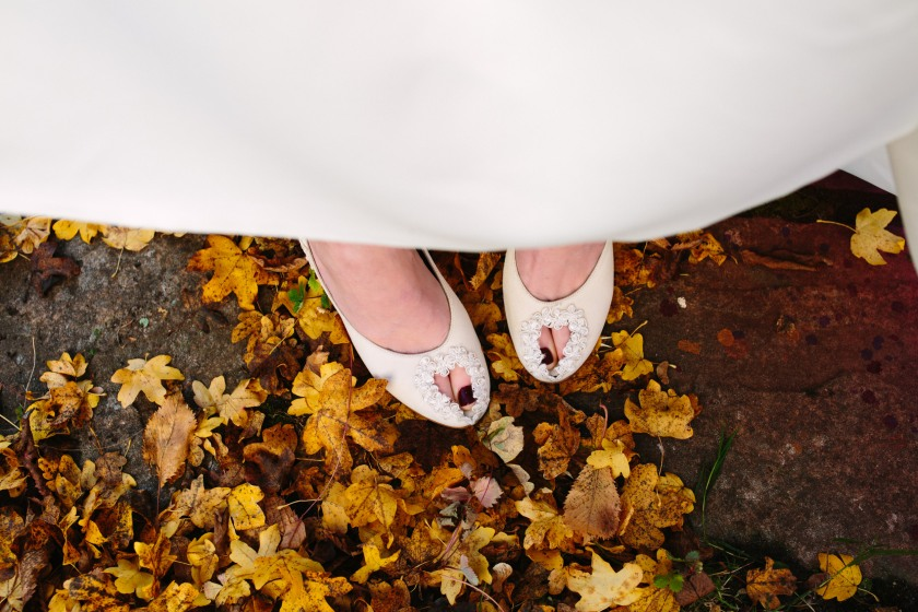 Bespoke wedding shoes by Marsha Hall: Design by Felicity Westmacott, Photography by Jessica Partridge, Jewellery by Vicky Forrester, Frost on the Leaves Photoshoot