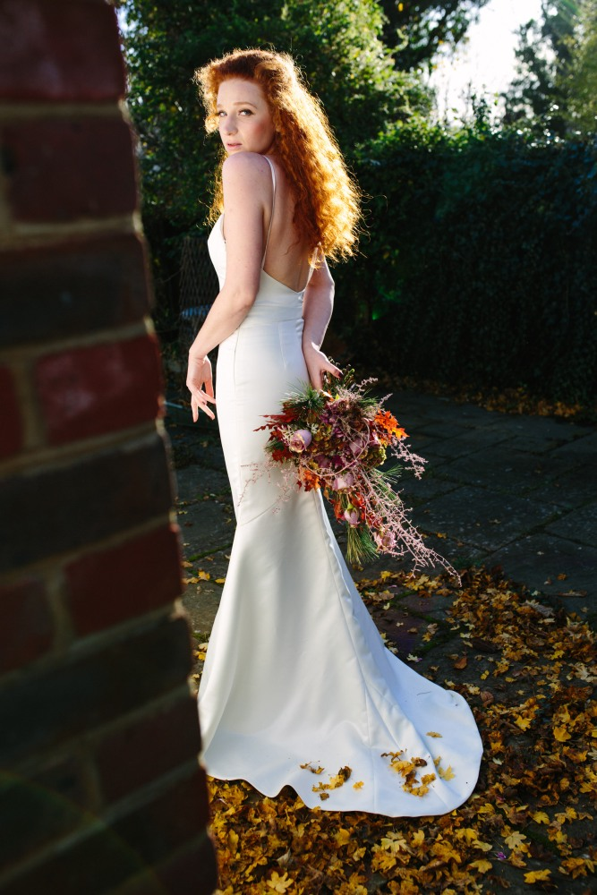Katja Cemic models backless dress: Bouquet by Muscari Whites, Dress Design by Felicity Westmacott, Photography by Jessica Partridge, Frost on the Leaves Photoshoot,